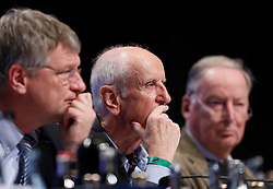30.04.2016, Messe, Stuttgart, GER, 5. Bundesparteitag der AfD, im Bild Albrecht Glaser, Stellvertretender Vorsitzender der AFD, links Prof. Dr. Jörg Meuthen, rechts Dr. Alexander Gauland // during the 5th party convention of the Alternative for Germany (AfD) at the Messe in Stuttgart, Germany on 2016/04/30. EXPA Pictures © 2016, PhotoCredit: EXPA/ Sammy Minkoff<br /> <br /> *****ATTENTION - OUT of GER*****
