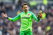 Lukasz Fabianski (GK) (West Ham) thanking the West Ham FC supporters following the Premier League match between Tottenham Hotspur and West Ham United at Tottenham Hotspur Stadium, London, United Kingdom on 27 April 2019.