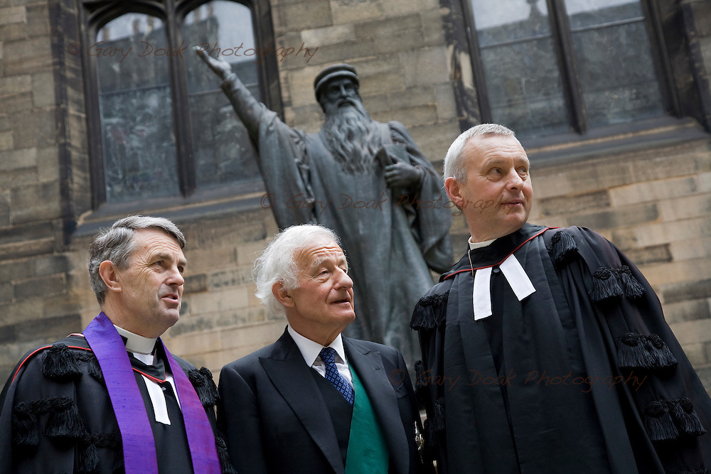 The General Assembly of The Church of Scotland 2010.The outgoing Moderator of the General Assembly, the Very Rev. William Hewitt (right).The Lord High Commissioner, Lord Wilson of Tillyhorn (centre), the new Moderator of General Assembly of the Church of Scotland, the Right Reverend John Christie (right) under the statue of John Knox at the Assembly Halls, Edinburgh