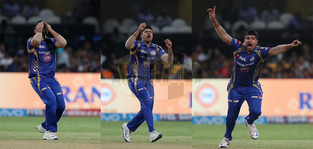 Image made from three photo's showing the emotion of Karn Sharma of the Mumbai Indians during the 2nd qualifier match of the Vivo 2017 Indian Premier League between the Mumbai Indians and the Kolkata Knight Riders held at the M.Chinnaswamy Stadium in Bangalore, India on the 19th May 2017<br /> <br /> Photo by Ron Gaunt - Sportzpics - IPL