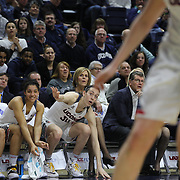 Breanna Stewart, UConn, cheering on team mates from the bench during the UConn Vs SMU Women's College Basketball game at Gampel Pavilion, Storrs, Conn. 24th February 2016. Photo Tim Clayton