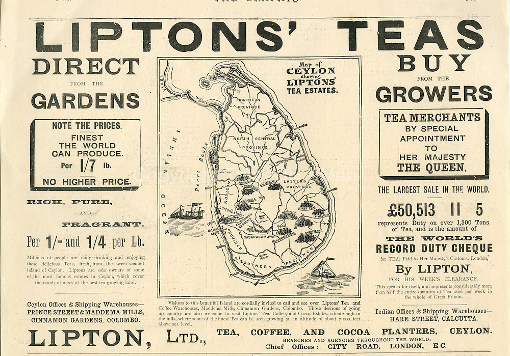 no copyright. from Anselm'c collection<br /> Lipton's Teas.<br /> The Illustrated London News 1898