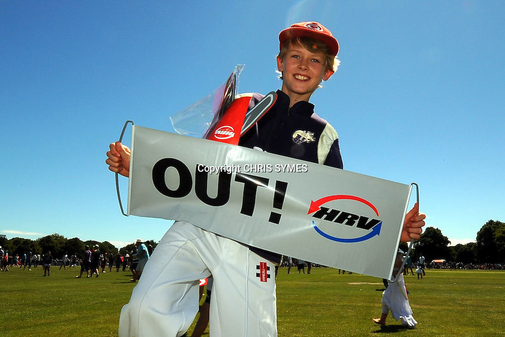 Young fan enjoys the day during the HRV Cup Twenty20 match. Canterbury Wizards v Wellington Firebirds, Hagley Park Oval, Christchurch. Sunday 15 January 2012. Credit Chris Symes/www.photosport.co.nz
