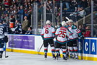 KELOWNA, CANADA - FEBRUARY 2: Kaedan Korczak #6, Kyle Crosbie #25, Conner Bruggen-Cate #20, Matt Barberis #22 and Trevor Wong #14 of the Kelowna Rockets celebrate Wong's first WHL goal against the Kamloops Blazers  on February 2, 2019 at Prospera Place in Kelowna, British Columbia, Canada.  (Photo by Marissa Baecker/Shoot the Breeze)