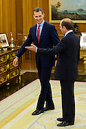 King Felipe Vi of Spain attends an audience with Pio Garcia-Escudero Márquez, President of the Senate at Zarzuela Palace on June 23, 2014 in Madrid