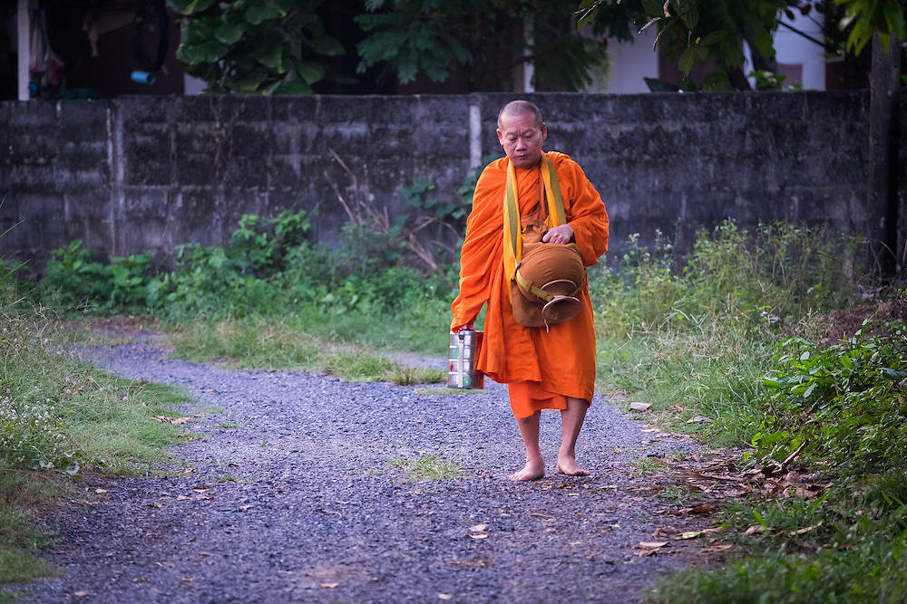 A monk walks for morning alms in rural Thailand.
