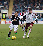 Dundee&rsquo;s Kane Hemmings goes past Hearts&rsquo; Juanma Delgado - Dundee v Hearts - Ladbrokes Premiership at Dens Park <br />  - &copy; David Young - www.davidyoungphoto.co.uk - email: davidyoungphoto@gmail.com