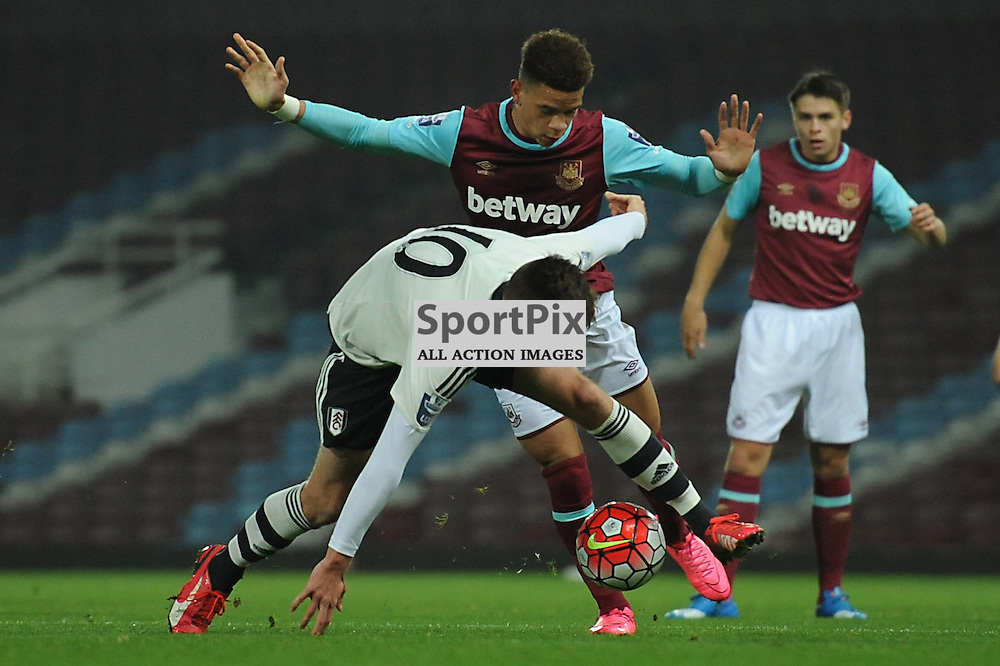 West Ham's Marcus Browne and Fulhams Mattias Kait in action during the West Ham u21 v Fulham u21 match in the Barclays U21 Premier League Division 2 on 26th October 2015.