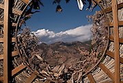 A dry wreath from the community graveyard frames the landscape in Juanacatlán, Guerrero on April 16th, 2010. (Photo: Prometeo Lucero)
