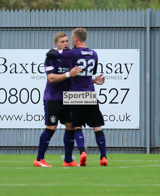 Waghorn with Dean Sheilds after spot kick during the Dumbarton FC v Rangers FC Scottish Championship 19th September 2015 <br /> <br /> (c) Andy Scott | SportPix.org.uk
