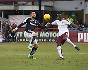 Dundee&rsquo;s Kane Hemmings and Hearts&rsquo; Prince Buaben - Dundee v Hearts - Ladbrokes Premiership at Dens Park <br />  - &copy; David Young - www.davidyoungphoto.co.uk - email: davidyoungphoto@gmail.com