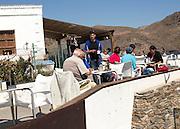 People at restaurant Las Negras, Cabo de Gata natural park, Almeria, Spain