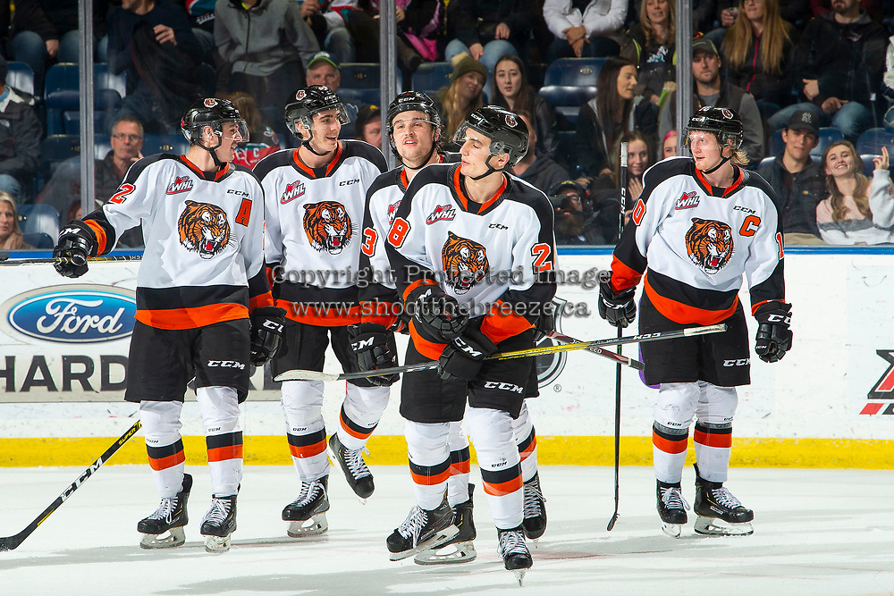 KELOWNA, BC - NOVEMBER 8:  The Medicine Hat Tigers celebrate a goal against the Kelowna Rockets at Prospera Place on November 8, 2019 in Kelowna, Canada. (Photo by Marissa Baecker/Shoot the Breeze)