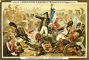 General Pierre Cambronne (1770-1842) French soldier.  At the Battle of Waterloo, 18 June 1815, he was in command of the remains of the Old Guard.   Seriously wounded, he was taken prisoner by the British after the battle.  Trade card c 1900. Chromolithograph.