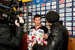 02.11.2012, Hostan Arena, Znojmo, CZE, EBEL, HC Orli Znojmo vs SAPA Fehervar, 18. Runde, im Bild Lubomir Stach (Znojmo #26) Sven Klimbacher (Fehérvár #29) // during the Erste Bank Icehockey League 18nd round match betweeen HC Orli Znojmo and SAPA Fehervar at the Hostan Arena, Znojmo, Czech Republic on 2012/11/02. EXPA Pictures © 2012, PhotoCredit: EXPA/ Rostislav Pfeffer