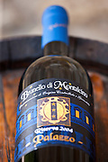 Brunello di Montalcino 2004 Riserva bottle of red wine at wine estate of Palazzo near Montalcino in Val D'Orcia, Tuscany, Italy