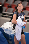 Brisbane, Australia, December 30: Jelena Jankovic of Serbia leaves the court after a training session at Pat Rafter Arena ahead of the 2012 Brisbane International Tennis Tournament in Brisbane, Australia on Friday December 30th, 2011. (Photo: Matt Roberts/Photo News)