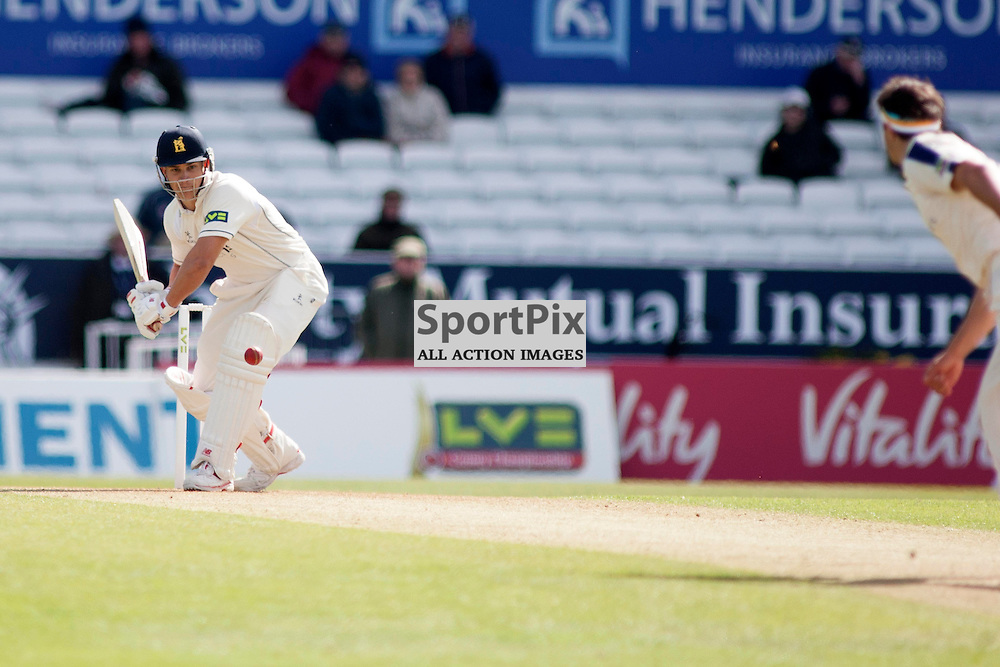 Jack Brooks bowls to Sam Hain in the Yorkshire v Warwickshire LV= County Championship Division One at Headingley, 26 April 2015<br /><br />(c) Russell G Sneddon / SportPix.org.uk