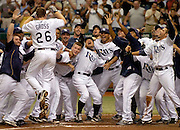 6/1/08 -- ST. PETERSBURG -- The Rays bench rushes to greet right fielder Gabe Gross after he hit a walk-off solo home run in the 10th inning to beat the White Sox, 4-3, on June 1, 2008.