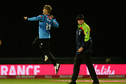 Will Beer of Sussex celebrates the wicket of Moeen Ali during the final of the Vitality T20 Finals Day 2018 match between Worcestershire Rapids and Sussex Sharks at Edgbaston, Birmingham, United Kingdom on 15 September 2018.