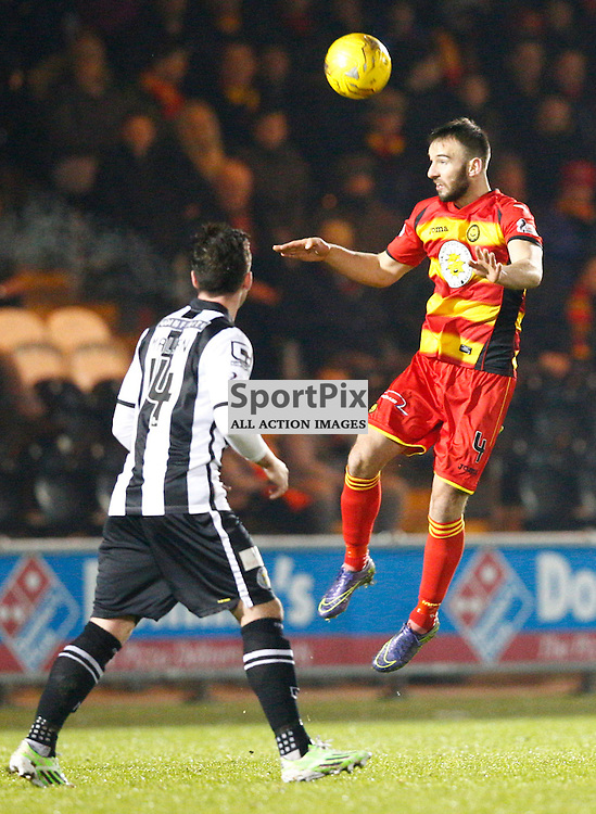 St.Mirren v Partick Thistle, Scottish Cup 4th round.....Sean Welsh leaps high for the ball....(c) STEPHEN LAWSON | SportPix.org.uk