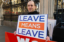 Anti-EU protester Tony, 31 is one of a few outside Parliament from the Leave Means Leave campaign group. London, January 14 2019.