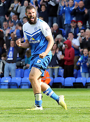 Peterborough United's Michael Bostwick celebrates scoring his second goal of the game - Photo mandatory by-line: Joe Dent/JMP - Mobile: 07966 386802 - 25/04/2015 - SPORT - Football - Peterborough - ABAX Stadium - Peterborough United v Crawley Town - Sky Bet League One