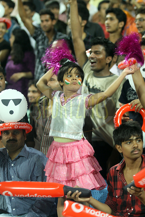 Crowd during  match 10 of the Indian Premier League ( IPL ) Season 4 between the Pune Warriors and the KJochi Tuskers Kerala held at the Dr DY Patil Sports Academy, Mumbai India on the 12th April 2011..Photo by Sandeep Shetty/BCCI/SPORTZPICS