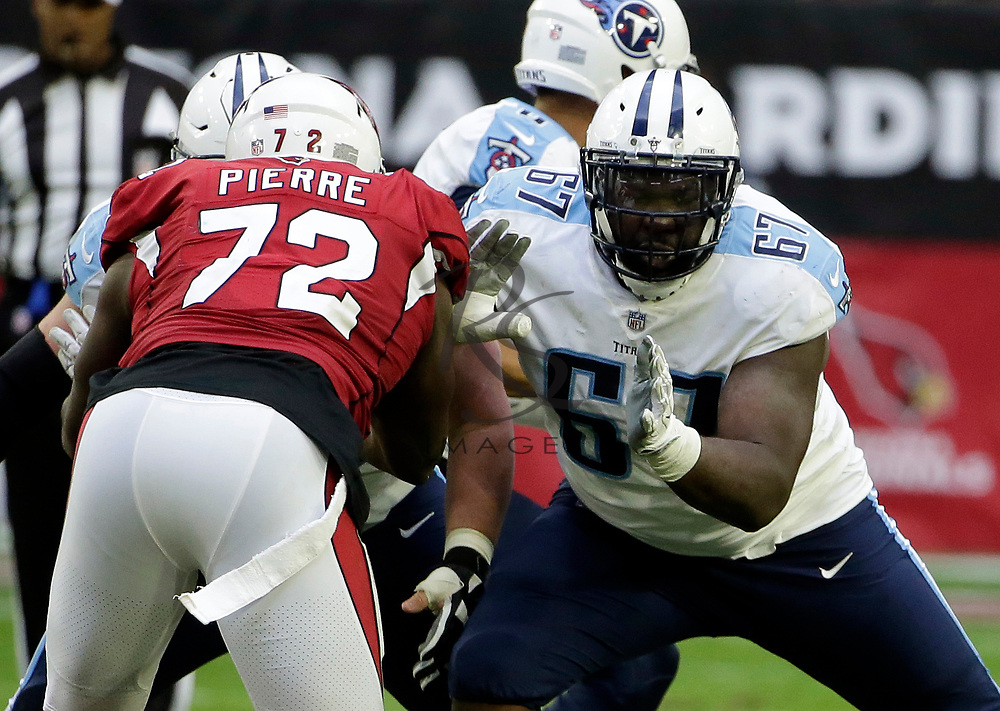 Tennessee Titans offensive guard Quinton Spain (67) during the second half of an NFL football game against the Arizona Cardinals, Sunday, Dec.10, 2017, in Glendale, Ariz. (AP Photo/Rick Scuteri)