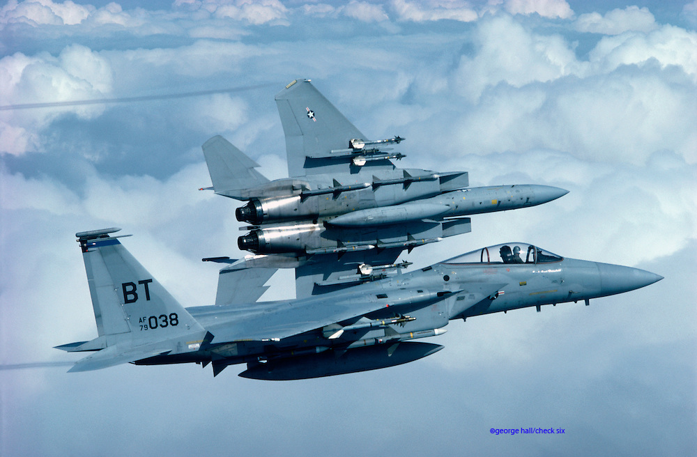 F-15 Eagles flying training mission