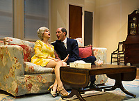 """Elizabeth Nestlerode as Bobbi Michele and Marc Willis as Barney Cashman during dress rehearsal for """"Last of the Red Hot Lovers"""" with the Winnipesaukee Playhouse on Wednesday afternoon.  (Karen Bobotas/for the Laconia Daily Sun)"""