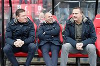 (L-R), assistant trainer *Leeroy Echteld* of AZ Alkmaar, assistant trainer *Arne Slot* of AZ Alkmaar, coach *John van den Brom* of AZ Alkmaar