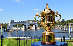 The Webb Ellis Cup during a visit to The Lensbury as part of the 100 day Rugby World Cup Trophy Tour of the UK & Ireland.