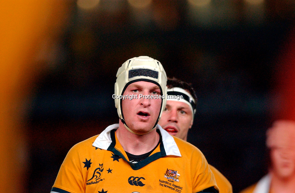 Justin Harrison during the rugby union test match between Australia and Argentina, 2 Novemeber 2002. Photo: Gabriel Piko/PHOTOSPORT