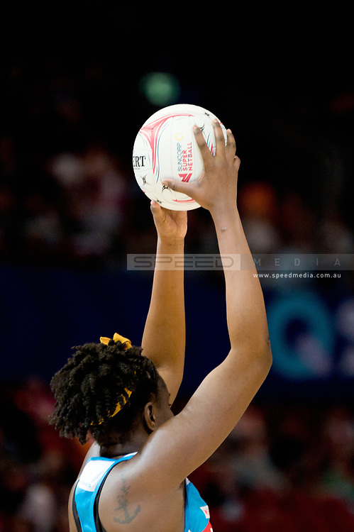 SYDNEY, AUSTRALIA - AUGUST 24: Sam Wallace of the Swifts catches the ball during the round 14 Super Netball match between the Swifts and the Queensland Firebirds at Qudos Bank Arena on August 24, 2019 in Sydney, Australia.(Photo by Speed Media/Icon Sportswire)