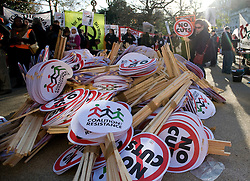 © Licensed to London News Pictures. 30/11/2011. London, UK. Workers and Union members gather in central London today (30/11/2011) to take part in national strike action. Up to two million public sector workers are staging a strike over pensions in what is set to be the biggest walkout for a generation.  Ben Cawthra/LNP
