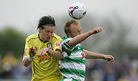 Photo: Lee Earle.<br /> Yeovil Town v Colchester United. Coca Cola League 1. 06/05/2006. Colchester's Greg Halford (L) battles with Paul Terry.