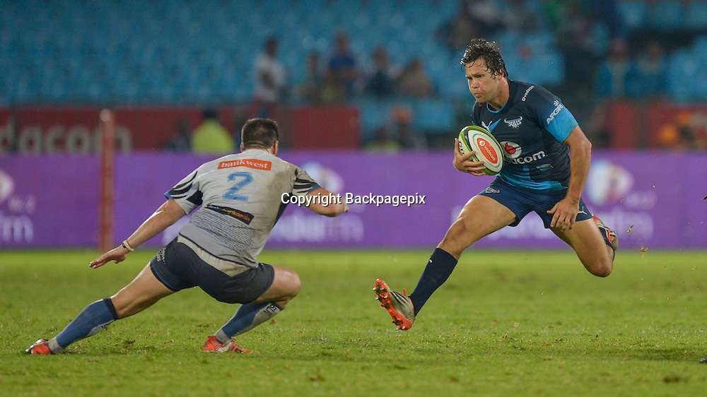 Nathan Charles of the Force and Jan Serfontein of the Bulls during the Super Rugby match between the Vodacom Bulls and the Force at the Loftus Versfeld on  21 March 2015<br /> &copy;BackpagePix