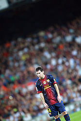 Lionel Messi prepares to take a penalty.  Barcelona v Real Madrid, Supercopa first leg, Camp Nou, Barcelona, 23rd August 2012...Credit : Eoin Mundow/Cleva Media