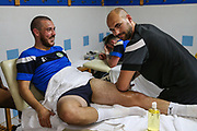 Forest Green Rovers Liam Noble(8) receiving a massage from Forest Green Rovers physio Joe Baker during the Forest Green Rovers Training session at Browns Sport and Leisure Club, Vilamoura, Portugal on 24 July 2017. Photo by Shane Healey.