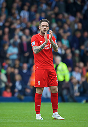 WEST BROMWICH, ENGLAND - Sunday, May 15, 2016: Liverpool's Danny Ings waves to the supporters after the 1-1 draw against West Bromwich Albion during the final Premier League match of the season at the Hawthorns. (Pic by David Rawcliffe/Propaganda)
