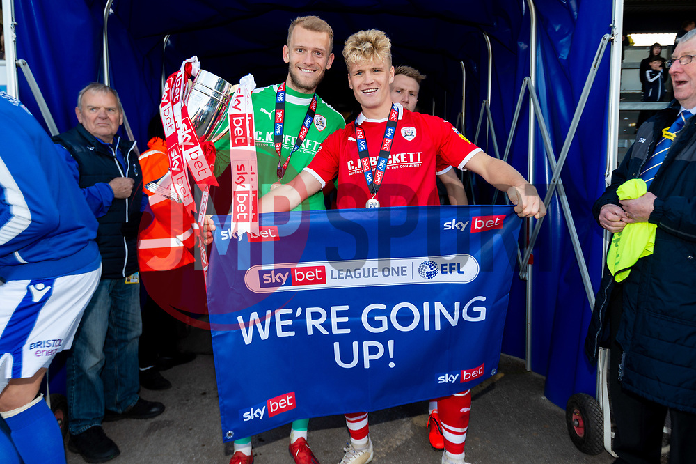 Adam Davies of Barnsley and Cameron McGeehan of Barnsley celebrates after the final whistle of the match after Barnsley secure automatic promotion to the Sky Bet  Championship   - Mandatory by-line: Ryan Hiscott/JMP - 04/05/2019 - FOOTBALL - Memorial Stadium - Bristol, England - Bristol Rovers v Barnsley - Sky Bet League One