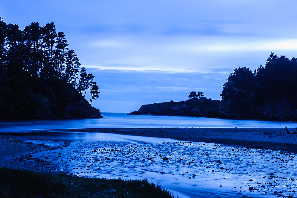 The beach at Russian Gulch State Park, and the Frederick W. Panhorst Bridge above it., Mendocino, CA