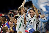 HOUSTON, TEXAS - JUNE 21:  Argentina fans celebrate the win of the Semifinal match between Argentina and US at NRG Stadium as part of Copa America Centenario US 2016 on June 21, 2016 in Houston, Texas, US. Argentina won 4 to 0. (Photo by Thomas B. Shea/LatinContent/Getty Images)