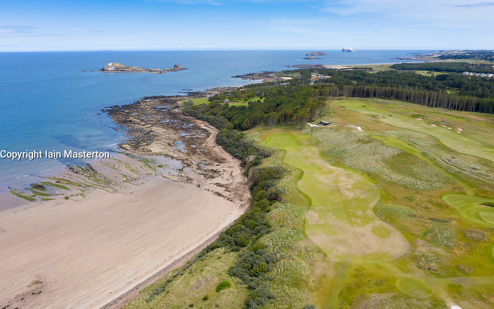Aerial view of the Renaissance Club golf course near North Berwick in East Lothian, Scotland, UK
