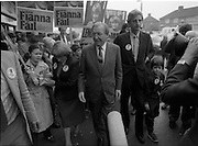 15/05/1982<br /> 05/15/1982<br /> 15 May 1982<br /> An Taoiseach, Mr Charles Haughey, canvasing with Fianna Fail bye-election candidate Eileen Lemass in Dublin West. Image Shows Eileen Lemass; Charles Haughey and Bobby Molloy on the Fianna Fail campaign trail in Ballyfermot.