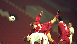 LIVERPOOL, ENGLAND - Tuesday, January 7, 1997: Liverpool's Steven Gerrard in action against Manchester United during the FA Youth Cup match at Anfield. United won 2-1. (Pic by David Rawcliffe/Propaganda)