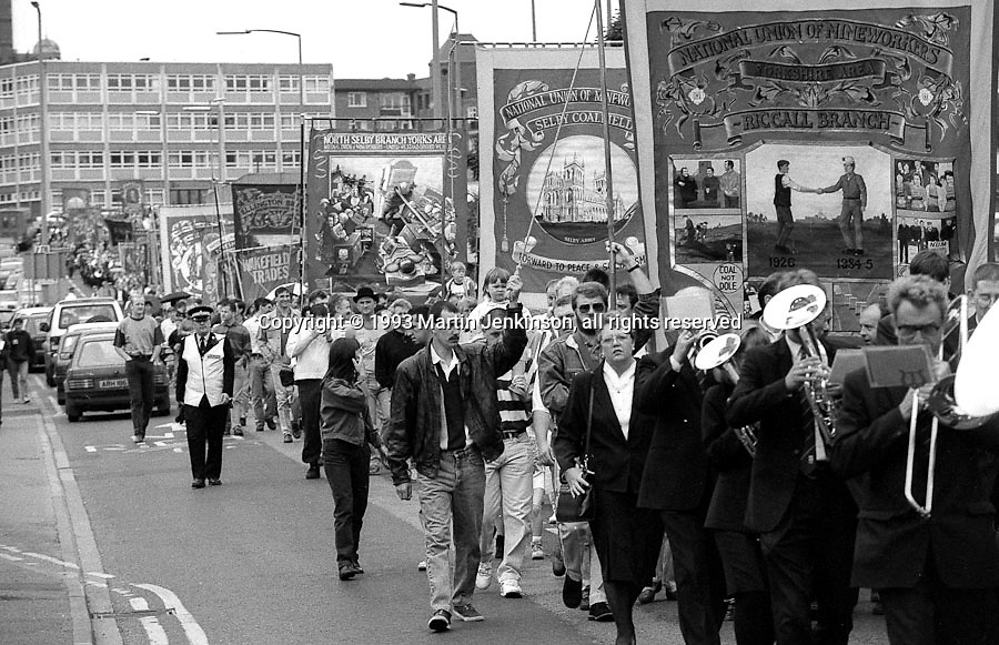 Riccall, Selby Coalfield, North Selby and Ellington Branch banners. 1993 Yorkshire Miner's Gala. Wakefield.