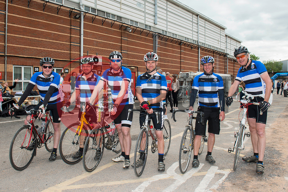 Participants (162, 167, 192, 159, 163, 197) at Ashton Gate take part in Break the Cycle, a 110 mile charity bike ride organised by the Bristol, Bath and Gloucester Rugby Community Foundations, visiting their respective stadia, Ashton Gate, The Recreation Ground and Kingsholm Stadium  - Photo mandatory by-line: Dougie Allward/JMP - Mobile: 07966 386802 - 14/06/2015 - SPORT - Cycling - Bristol - Ashton Gate - Bristol Rugby Community Foundation - Break the Cycle