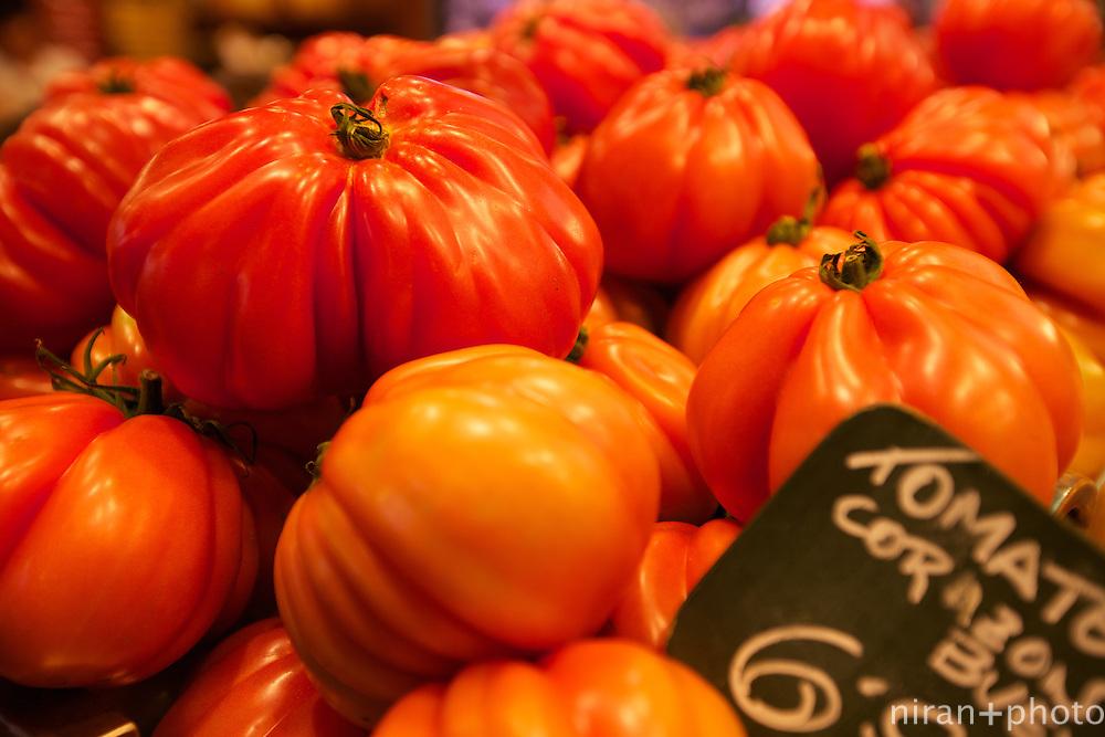 Tomatoes at Mercat de la Boqueria, Barcelona, Spain